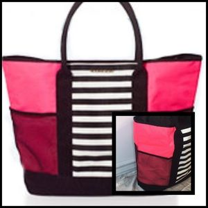 VICTORIA'S SECRET LARGE PINK BLACK MESH STRIPE BAG
